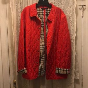 BURBERRY-RED QUILTED & PLAID JACKET